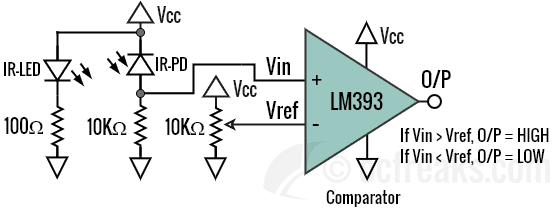 IR Proximity sensor obstacle avoidance using LM393 LM358 LM324 op-amp comparator
