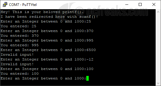 example showing retarget printf using UART on ARM