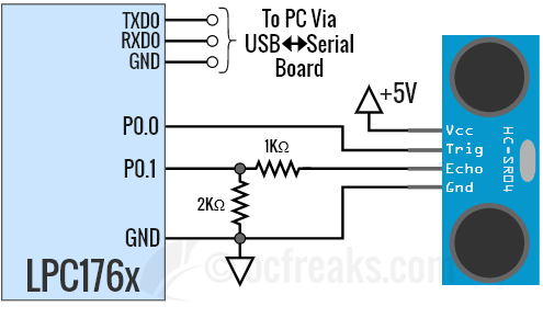 LPC1768 HC-SR04 Interfacing Schematic