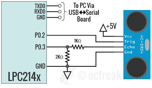 Interfacing schematic circuit diagram for HC-SR04 with ARM7 LPC2148