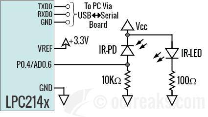 Interfacing IR photodiode with LPC2148