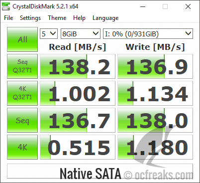 Crystal Diskmark Native SATA